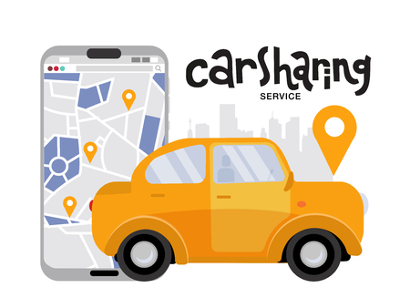 mobile phone with map and big city on background, car sharing service concept. Side view if yellow vehicle. Mobile app for renting car online. Vector flat cartoon illustration