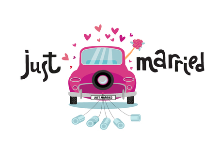 Newlywed couple is driving vintage pink car for their honeymoon with just married lettering sign and cans attached. Bride groom car with hand with bouquet sticking out of window . Vector flat cartoon.