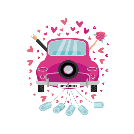 Newlywed couple is driving vintage pink car for their honeymoon and cans attached. Bride groom car with hand with bouquet sticking out of window . Vector flat cartoon round concept with many hearts Vettoriali