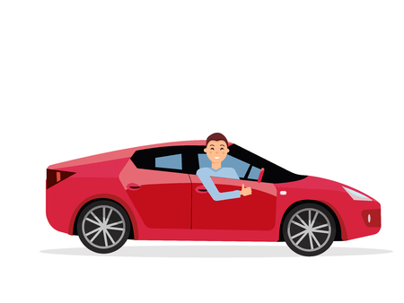 Smiling young man inside his car. Friendly driver at the wheel of car. Side view of Right-hand drive red car.Guy showing thumb up gesture. Isolated Vector flat cartoon illustration on white background. Stock Illustratie