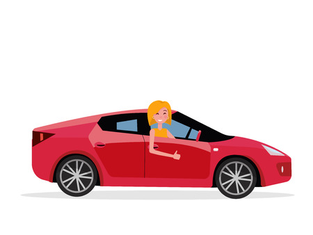 Smiling young woman inside his car. female driver at the wheel of car. Side view of Right-hand drive red car.Girl showing thumb up gesture. Test drive concept.Isolated Vector flat cartoon illustration