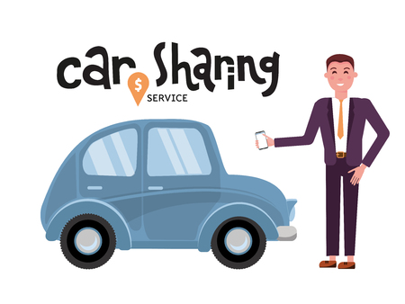 Online carsharing. Businessman books car by app on mobile phone. Transportation service online. Travel concept. Lettering car sharing service.Happy person fore the car.Vector flat cartoon illustration