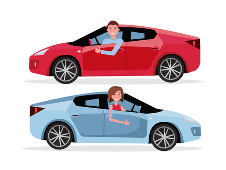 Smiling man driving his car, looking out side window, showing thumb up gesture. Cheerful driver behind the wheel of a car. Brown-haired woman driving a car. Vector flat cartoon isolated illustration
