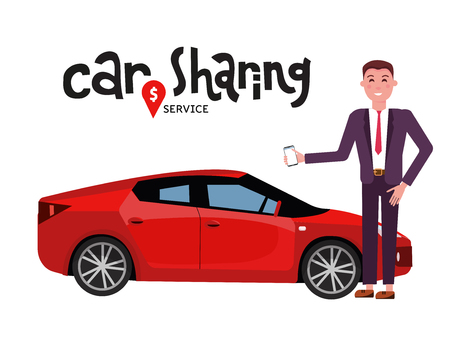 Composition with automobile and businessman in suit with mobile phone standing beside red sports car for rent. Carsharing or car rental service. Hand drawn lettering. Vector flat cartoon illustration