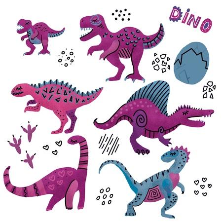 Collection de dinosaures drôles. Personnages enfantins mignons aux couleurs violettes. Dino dessiné texturé à la main avec des œufs. Ensemble de dinosaures, Tyrannosaurus, Barosaurus, Diplodocus, Velociraptor, Triceratops, Stegosaurus Banque d'images