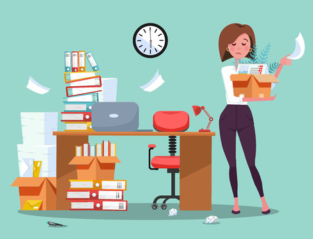 Dismissing from employment. Disapointed young business woman employee leaves office with box of things. Unemployment concept with desk and stacks of documents, folders.Vector flat cartoon illustration