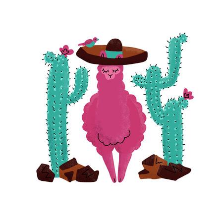 Pink alpaca kid hand drawn illustration. Llama or alpaca print clipart design for nursery design, poster, birthday greeting card. Cute Lama lying in sombrero with big cactus, plants, stones, sun, bird  イラスト・ベクター素材