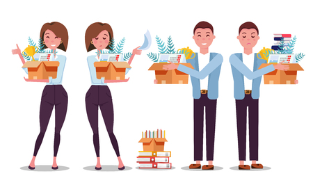 set of 4 hired and fired woman and man. Successful smiling employees holding a box with her things and dismissed frustrated employees. Employment and job reduction. Vector flat cartoon illustration Vektorové ilustrace