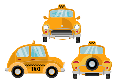 Taxi Car On White Background. Yellow retro cute city vehicle, branding taxicab. Set of 3 Front, back and side views. Vector flat cartoon isolated illustration