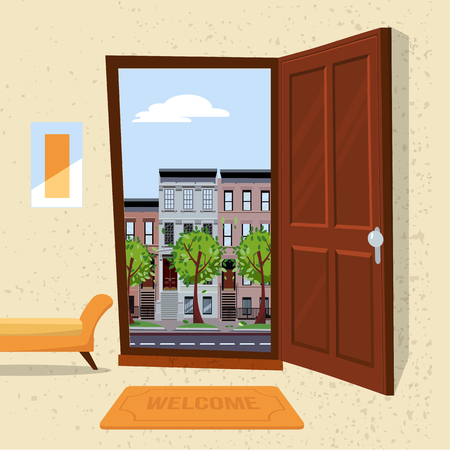 Interior of hallway with open wood door overlooking summer cityscape with houses and green trees. Furniture inside Soft bench, picture, mat against a textured wall. Flat cartoon vector illustration. Illustration
