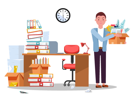 Dismissing from employment. Disapointed young business man employee leaves office with box of things. Unemployment concept with desk and stacks of documents, folders.Vector flat cartoon illustration