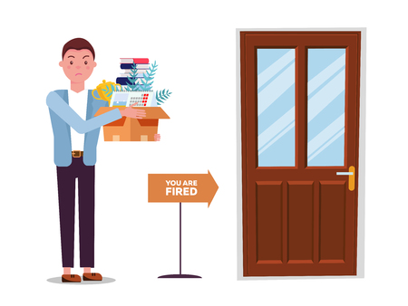 Fired man goes to exit door. incompetent worker going to the door, dismisses male employee from job, guy leaving office workplace. Dismissed man with cardboard box . Vector flat cartoon illustration Illustration