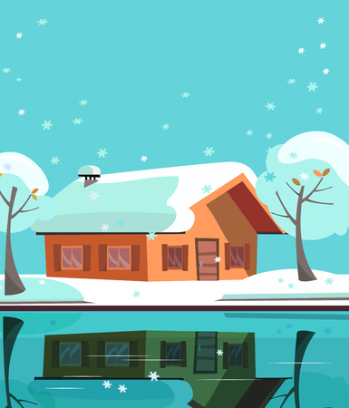 Colored country house on lake. Facade of building is reflected in mirror surface of water. Flat cartoon vector illustration of winter suburb landskape with private house, snowy trees. One-story house.