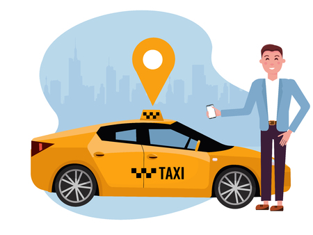 Young woman requesting ride on cell phone. Rent a car using mobile app. Online carshering concept. Yellow car on background of silhouette of city and geolocation sign.Vector flat cartoon illustration