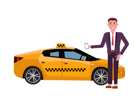Smiling young businessman in a suit calls a taxi by a mobile phone. Side view of modern yellow taxi car on white background. City transtort concept. Vector flat cartoon illustration Stock Illustratie