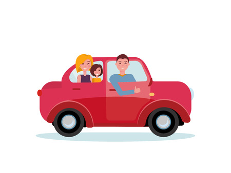 Happy family inside their new red car. Man driver at the wheel of car. Mom and daughter sitting in back seat. Side view of family car. Dad showing thumb up gesture. Vector flat cartoon illustration Stock Illustratie