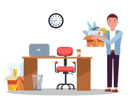 Successful smiling young business man holding cardboard box with work stuff at a new workplace with laptop and papers. New job concept. Office workstation. Vector flat cartoon illustration