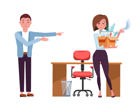 Man dismisses woman.Sad office girl employee leaves with box of her things. Job reduction concept.She picks up her belongings, leaves the workplace.Vector flat cartoon illustration on white background