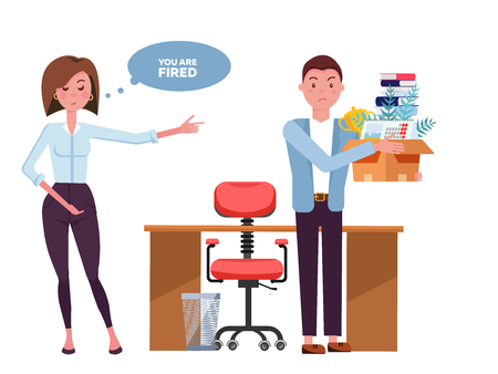 Angry woman boss yelling at employee man office worker. Fired man and angry female boss. Manager showing incompetent worker the door, guy leaving office workplace.Vector flat cartoon illustration Standard-Bild - 121975523