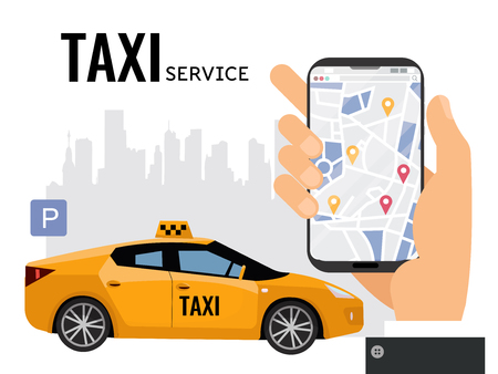 Mobile city transportation vector illustration concept. Online calling taxi with big man's hand with smartphone with map.Yellow car in foreground of city silhouette with parking sign.taxi service text