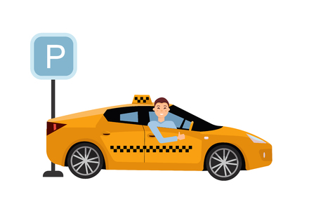Smiling young taxi driver inside his car.Taxi service on parking lot. Friendly taxi driver at the wheel of car. Side view of Right-hand drive car.Vector flat cartoon illustration on white background