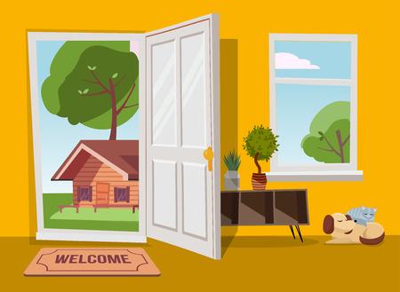 Porta aperta nella vista del paesaggio del paese estivo con alberi verdi. Illustrazione di vettore del fumetto piatto. Alberi con corona rotonda sotto il cielo blu. Interno del corridoio con finestra che si affaccia sulla vecchia casa del sobborgo