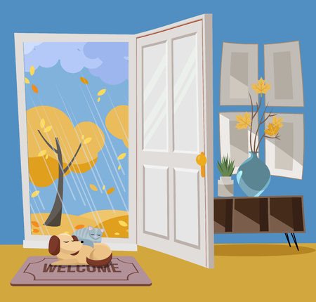 Open door into autumn view with yellow trees. Autumn interior with a coffee table, vases, door mat, sleeping cat and dog. Sunny good weather outside. Flat cartoon style vector illustration.