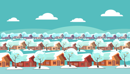 Panoramic landscape of a suburban one-story village. Same houses are located in three rows. There is winter snow weather and snow-covered trees outside. Flat cartoon style vector illustration