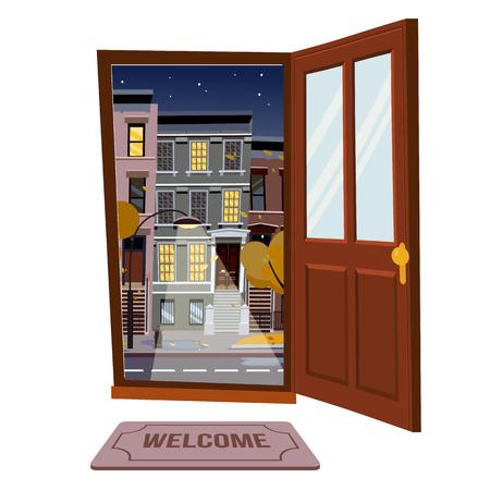Abra la puerta hacia la vista nocturna de la ciudad de lluvia de otoño con árboles amarillos. Alfombra de puerta en habitación. Ilustración de vector de estilo de dibujos animados plana. Casas de colores desiguales de tres y cuatro pisos, follaje. Paisaje urbano de la calle.