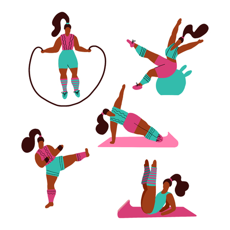Women doing sports. Poses of yoga, fitness with jump rope, fitball, kickboxing. Workout in the gym on white background. Fitness for every woman. Gymnastic training flat doodle textured illustration. Illustration
