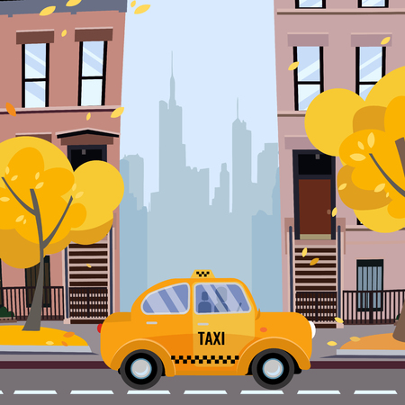 America city street. Urban landscape. Cozy yellow taxi on New York Street in residential area with yellow trees in the foreground, and silhouettes of downtown in background.Vector flat cartoon concept