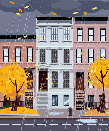 Ilustración de vector de dibujos animados plana de la calle de la ciudad lluviosa de otoño. Casas desniveladas de tres o cuatro pisos, el follaje vuela. Paisaje urbano de la calle. Paisaje de la ciudad de noche con árboles de otoño en primer plano, charcos