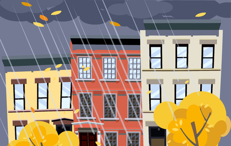 Flat cartoon vector illustration of autumn rainy city street. Dark clouds over the roofs of houses, it is raining. Street of town with bright colorful houses. Autumn twilight in the city background