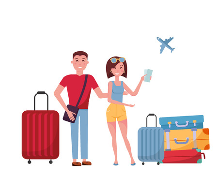 Young couple tourists with suitcases and bags on wheels on white background. scene at airport, search for information in mobile phone. Woman and man trevels together. Vector flat cartoon illustration.