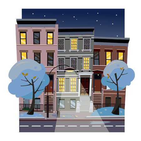 Flat cartoon vector illustration of winter snowy city street at night. Uneven houses with luminous windows,. Street cityscape with glowing streetlight and starry sky. Town landscape with blue trees