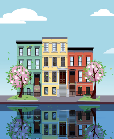 Colored apartment buildings on lake. Facades of buildings are reflected in mirror surface of water. Flat cartoon vector illustration of autumn city. Three-four-story colorful houses. Street cityscape.
