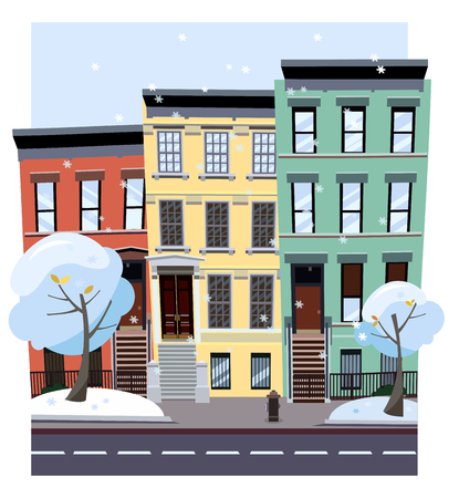 Nonlinear colorful houses look out of picture. Flat cartoon style vector winter city street. Tree houses flying snowflakes. Street cityscape. Day city landscape with snow-covered trees in foreground