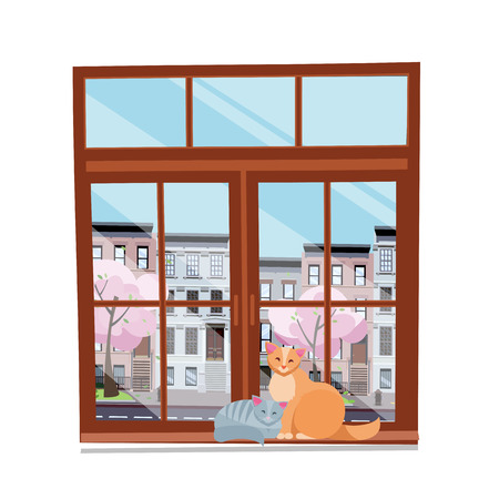 Spring view from the window. Closed brown wood window overlooking cityscape and blooming trees. Couple of cats in love on the windowsilll . Flat cartoon style vector illustration on white background Иллюстрация