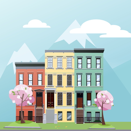 Flat cartoon style vector illustration of spring city street with mountains. Three-story houses with blooming pink trees and grass lawn. Day Street cityscape