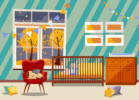 Bright Newborn kid nursery room interior, bedroom furniture. Flat Children's room with toys, armchair, easy chair with sleeping cat and dog, garland of flags, boy in bed, window with fall landscape
