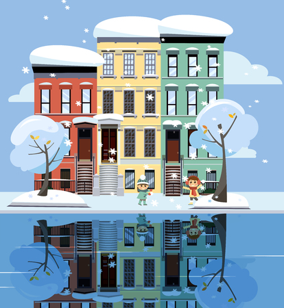Colored apartment buildings on lake. Facades of buildings are reflected in mirror surface of water. Flat cartoon vector illustration of winer city street landskape. Three-four-story colorful houses. Çizim