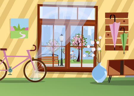 Window with view of blooming trees in city park. Spring warm interior with bicycle, branches in vase, table in hallway and umbrellas on hanger. Silhouette of big city outside. Flat cartoon vector