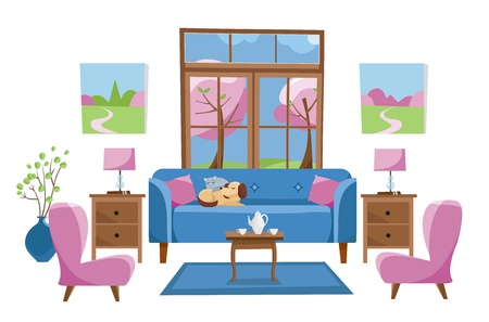 Living room furniture in bright colors on white background. Blue sofa with table, stands, lamps, carpet, porcelain set, soft chairs in room with large window. Outside spring trees. Flat cartoon vector Illustration