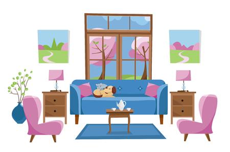 Meubles de salon aux couleurs vives sur fond blanc. Canapé bleu avec table, supports, lampes, tapis, ensemble de porcelaine, fauteuils moelleux dans la chambre avec grande fenêtre. Arbres de printemps à l'extérieur. Vecteur de dessin animé plat Vecteurs
