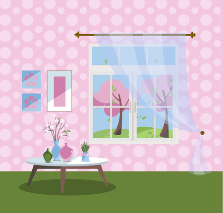 Big Window in living room with a view of pink blooming trees. Spring interior with coffee table, vases, pictures on tender pink wallpaper. Sunny good weather outside. Flat cartoon vector illustration.