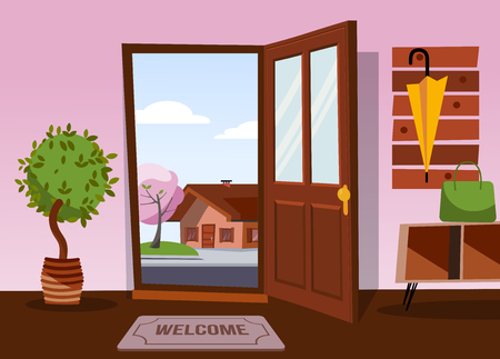 The interior of hallway in flat cartoon style with open door overlooking winter landscape with small snowy house and tree.Hanger with down jacket and mittens on wall. Soft bench stands under coat rack 向量圖像