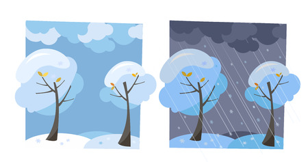 Winter snow trees with flying snowflakes. Set of two non-parallel pictures with a view of good sunny weather and dark evening. Flat cartoon vector illustration. Trees with round crown under clouds sky