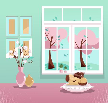 Okno z widokiem na różowe drzewa w kwiatach i latających liściach. Wiosenne wnętrze ze śpiącym kotem i psem, wazony, zdjęcia na miętowej tapecie. Słodki dom. Przytulne wnętrze. Ilustracja wektorowa kreskówka płaski.