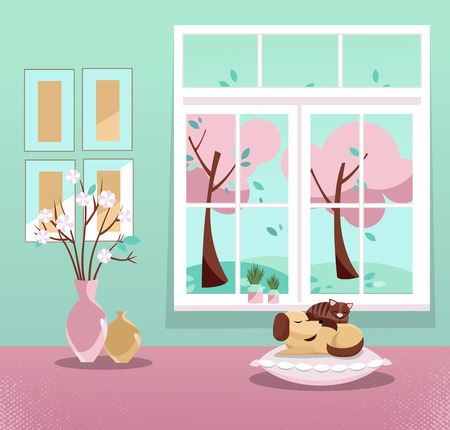 Window with a view of pink trees in blossom and flying leaves. Springinterior with sleeping cat and dog, vases, pictures on mint wallpaper. Sweet home. Cozy interior. Flat cartoon vector illustration.
