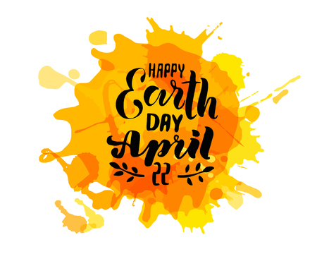 Handwritten lettering text 'Happy Earth Day'. Vector sketched text for postcard banner template. typography for eco friendly ecology concept. World environment background. Vector illustration.